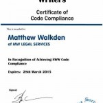 Society of Will Writers Certificate of Compliance