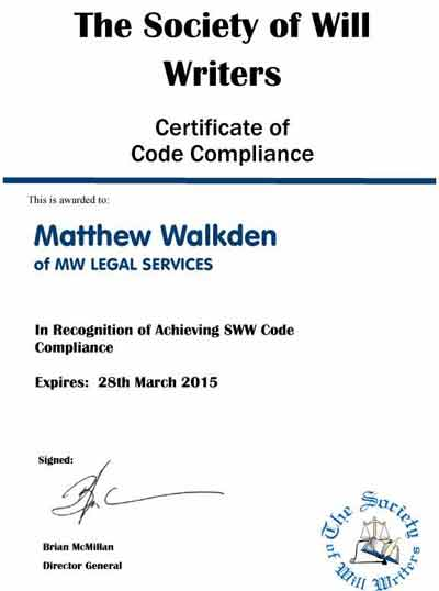 Code of Compliance Certificate